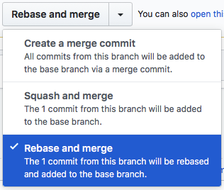GitHub repository merge button options
