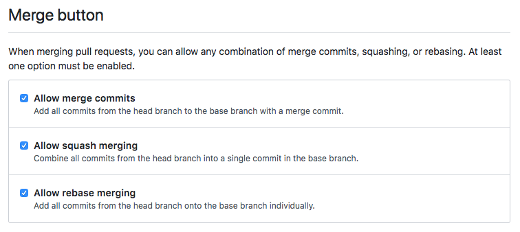 GitHub repository merge button settings